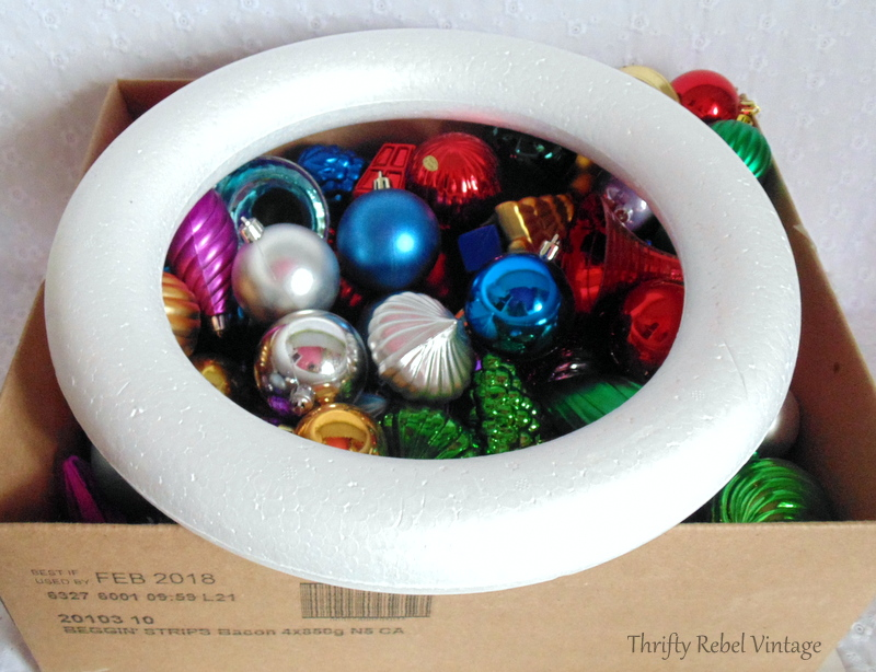 plastic Christmas ornaments and styrofoam wreath form for Christmas ornament wreath