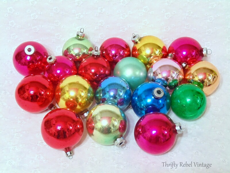 thrifted lot of Made in USA Germany and Poland glass ornaments