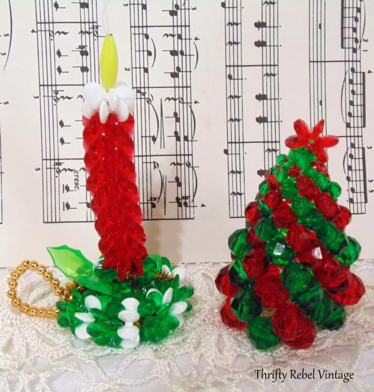 vintage beaded candle and tree ornaments
