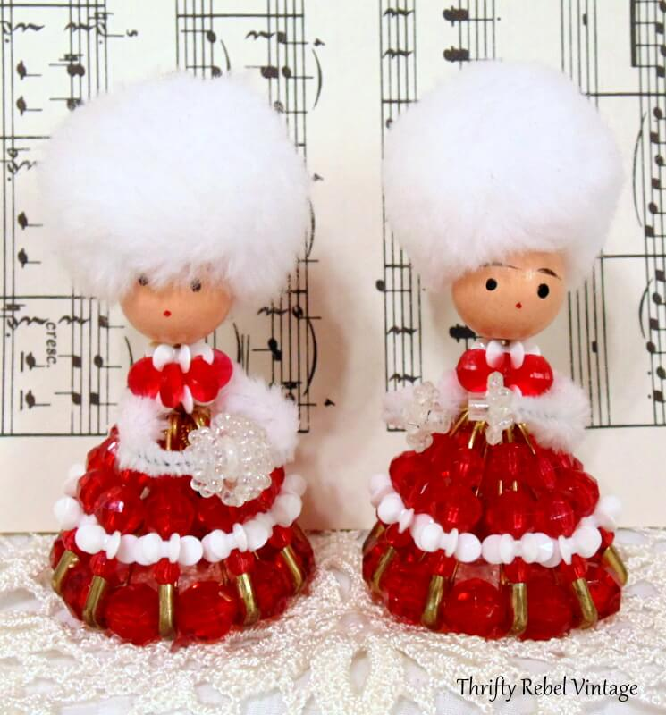 vintage beaded lady ornaments with red and white dresses