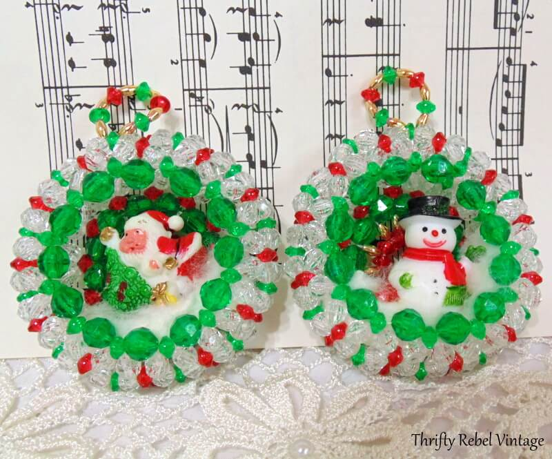 vintage beaded wreath ornaments with Santa and Snowman