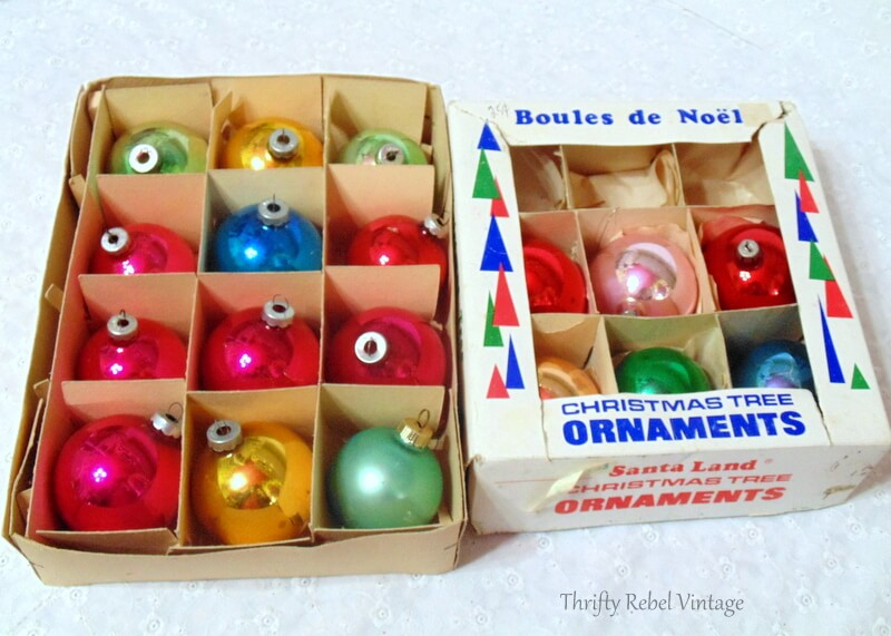 vintage glass colored Christmas ornaments