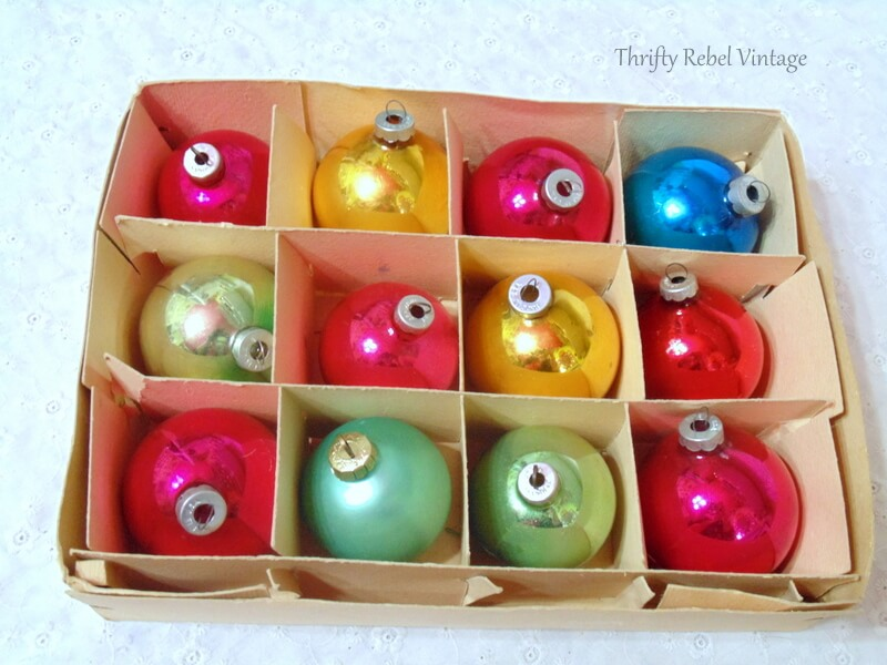 vintage glass ornaments Made In USA and Germany