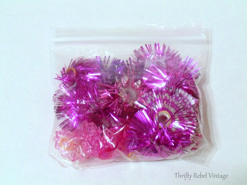 vintage pink plastic light reflectors to be repuprosed into Christmas tree ornaments