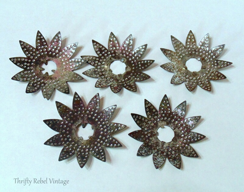 vintage silver punched tin light reflectors to be repuprosed into Christmas tree ornaments