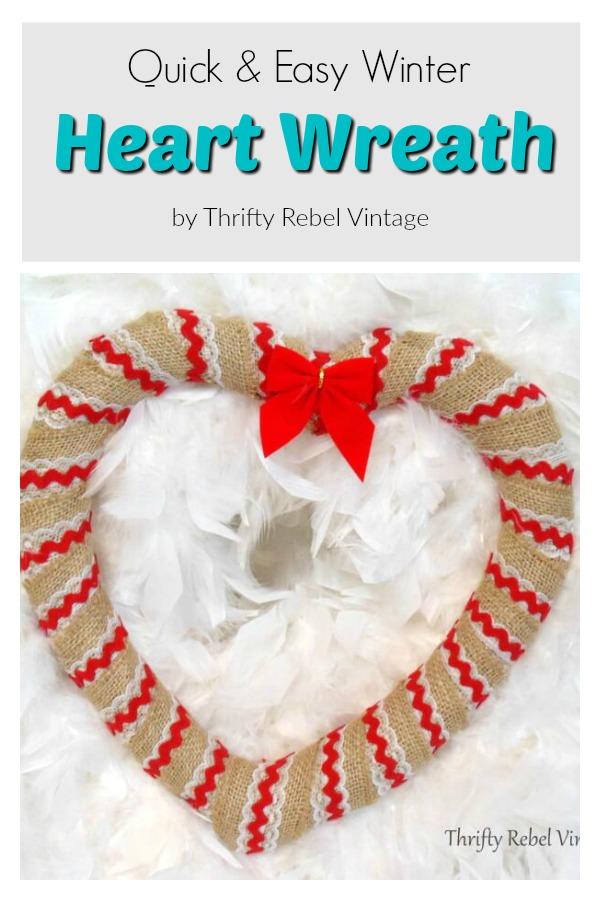 Quick & Easy Valentine's Day Winter Heart Wreath