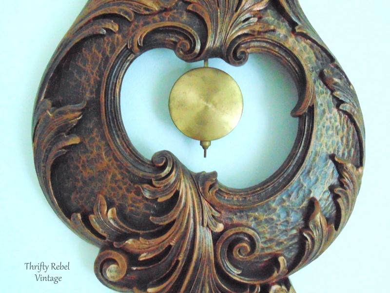 Vintage Syroco pendulum wall clock 5