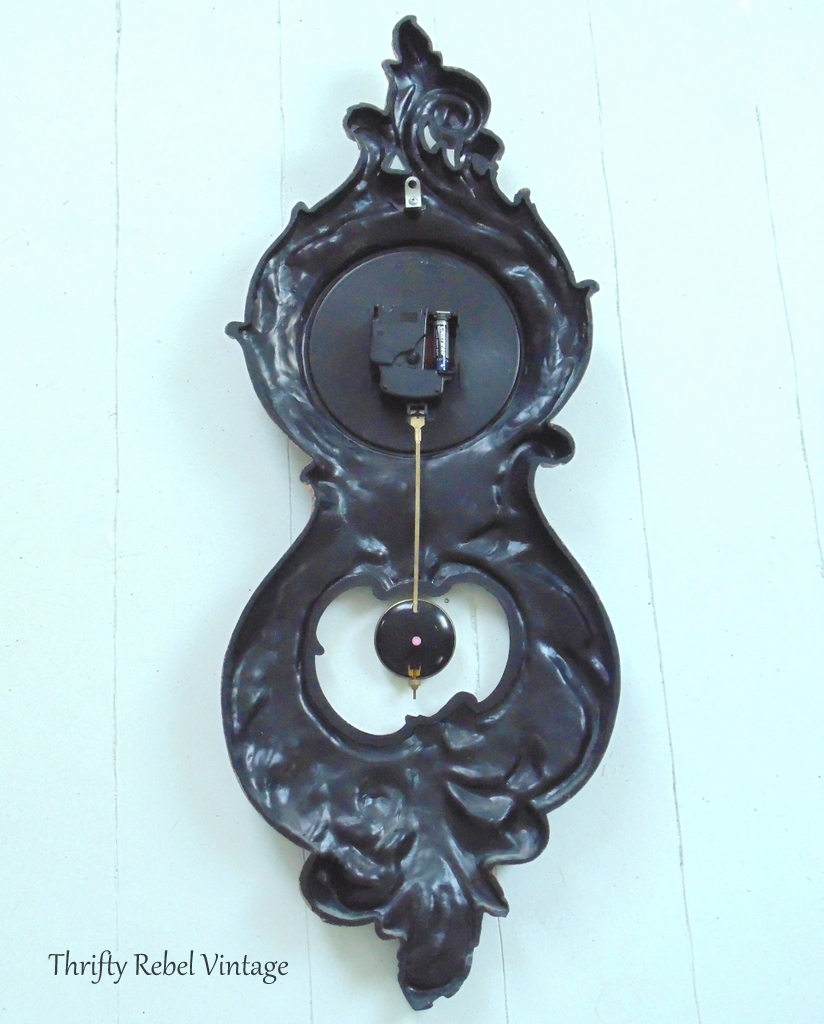 back of vintage Syroco pendulum wall clock