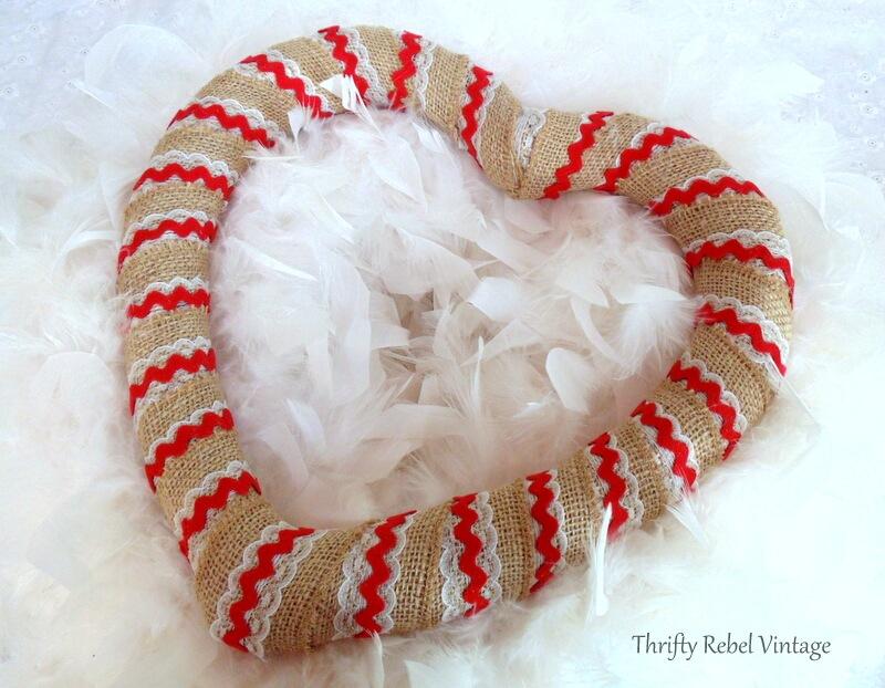 burlap ribbon and red ric rac trim heart wreath