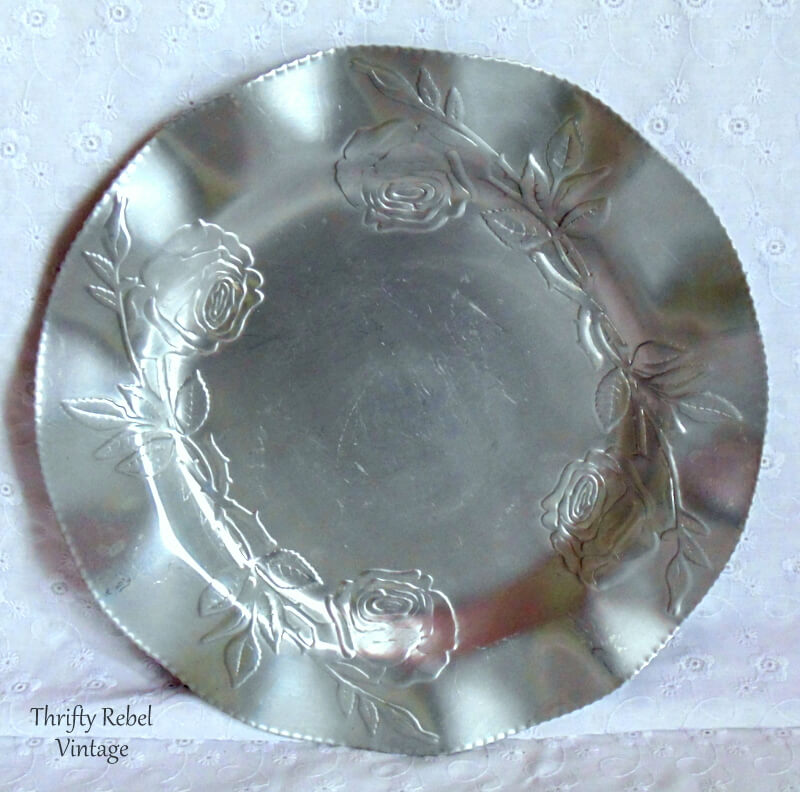 10 inch vintage aluminun roses tray