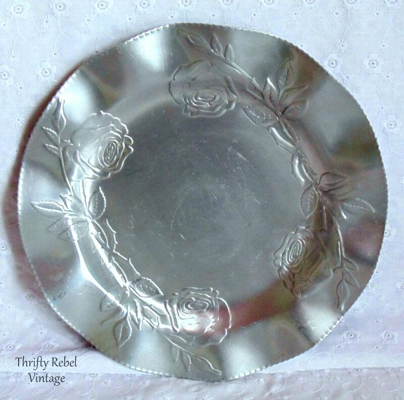 10 inch vintage aluminun roses tray