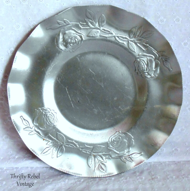12 inch vintage aluminum roses tray