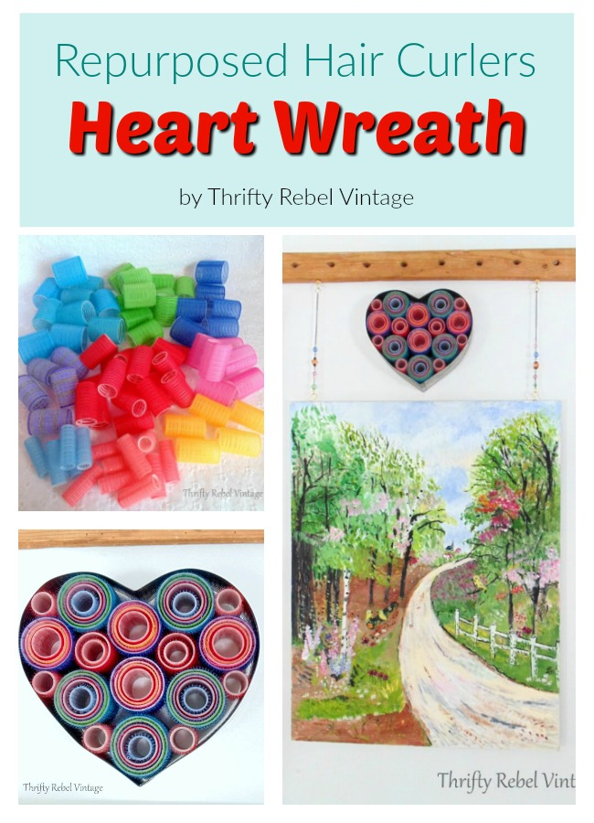 Create a unique heart wreath using repurposed hair curlers and a heart shaped cake frame.