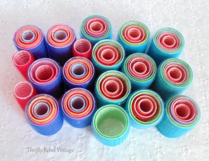 colorful plastic hair curlers for repurposed heart wreath