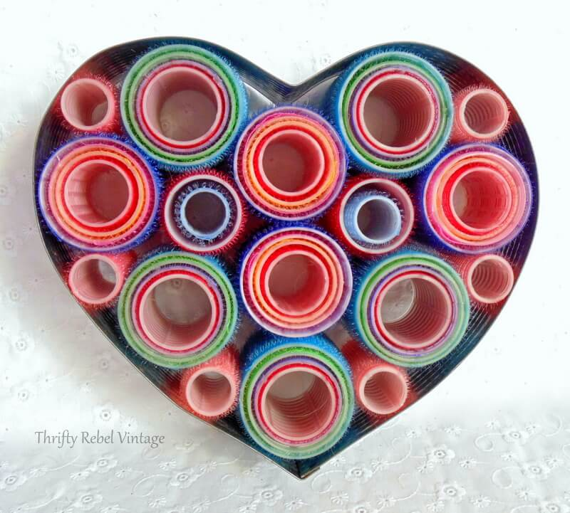 heart shaped vintage cake frame and repurposed hair curlers wreath 1