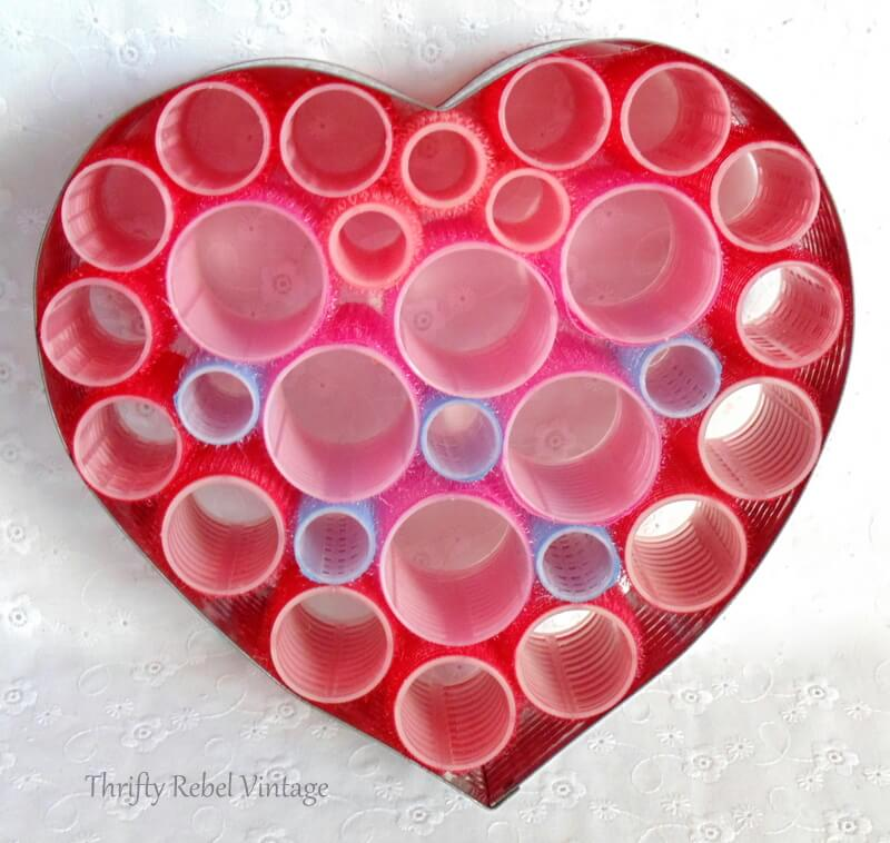 repurposed red and pink curlers heart wreath