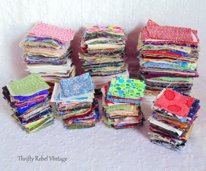 thrifted lot of quilting of 2 inch 3 inch and 4 inch squares 2