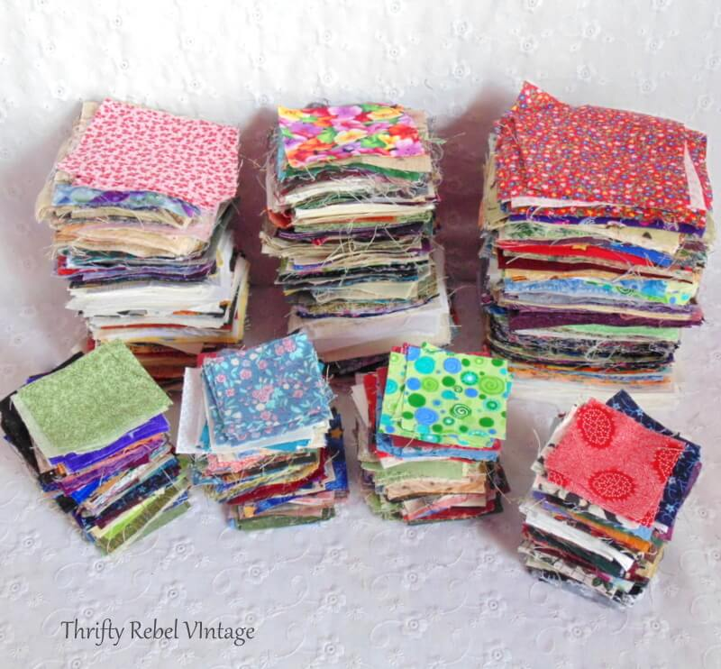 thrifted lot of quilting of 2 inch 3 inch and 4 inch squares 3
