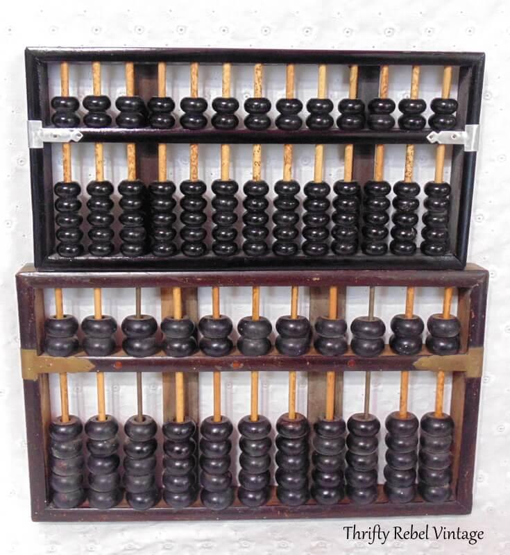 two vintage Lotus Flower wooden abacuses 1