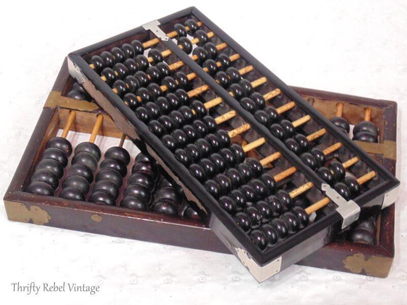 two vintage wooden Lotus Flower abacuses 2