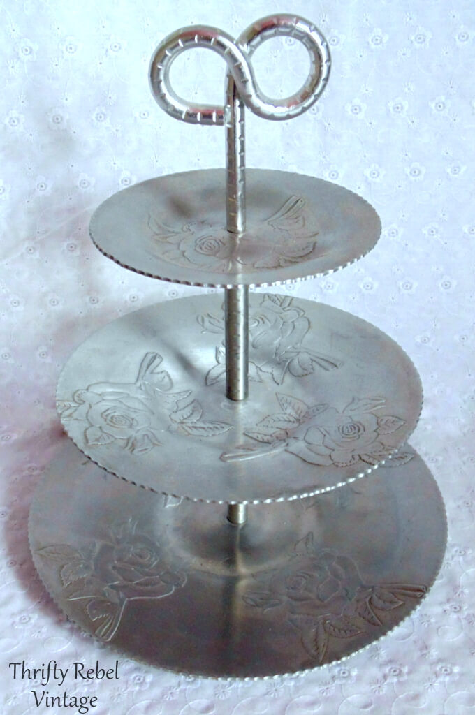 vintage aluminum roses tiered stand 1