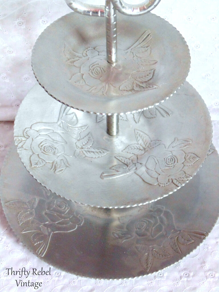 vintage aluminum roses tiered stand 2
