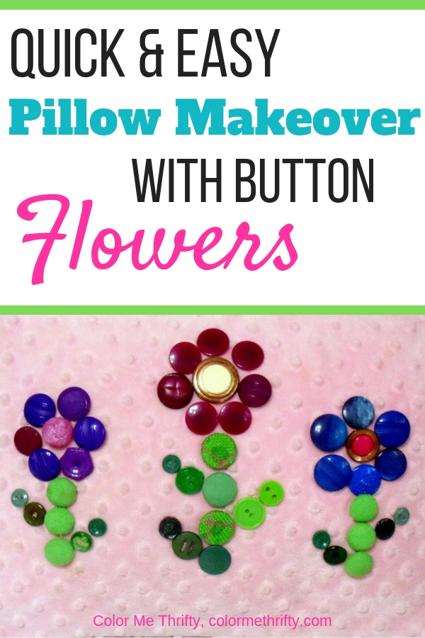 Quick and pillow makeover by creating flowers our of buttons