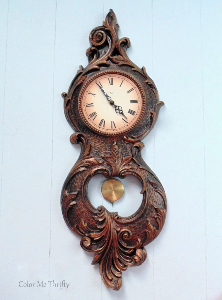 Full view of Vintage Syroco pendulum wall clock