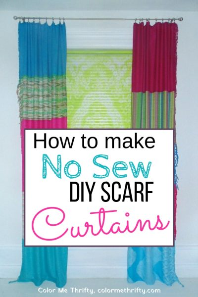 How to make no sew curtains from scarves collected from thrift stores