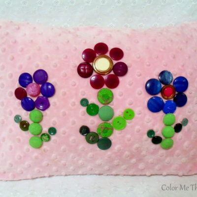 Button Flowers Pillow Makeover