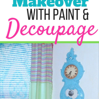 Spray painted vintage clock makeover with decoupaged pendulum