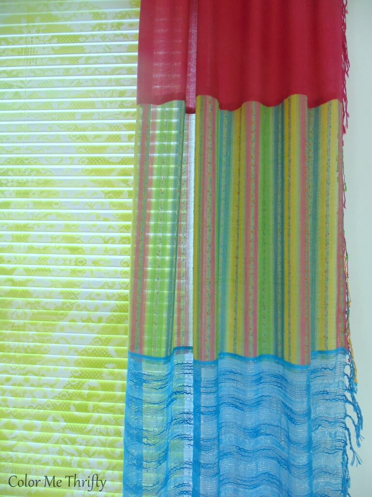 close up of sections of repurposed no sew scarf curtains