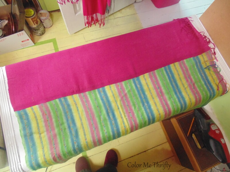 finished section of two scarves bonded together to make no sew scarf curtains