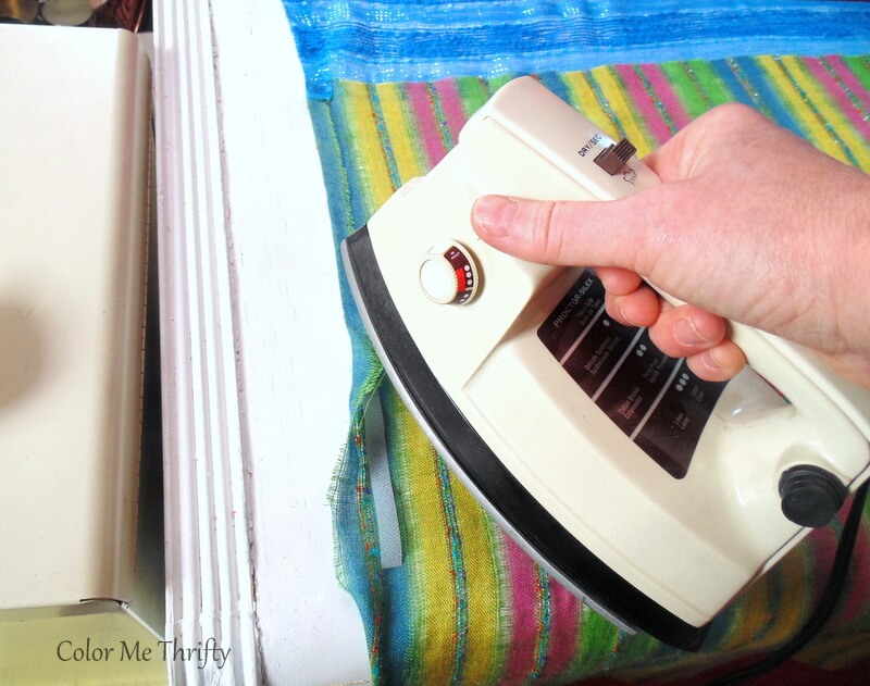 hemming side of scarf curtains using heat and bond and iron