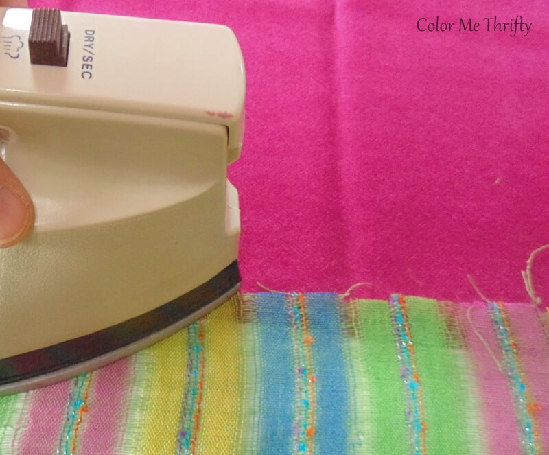 ironing scarves together using heat and bond