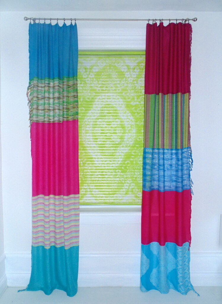 116fd0dee51 How to Make No Sew Curtains From Scarves - Color Me Thrifty