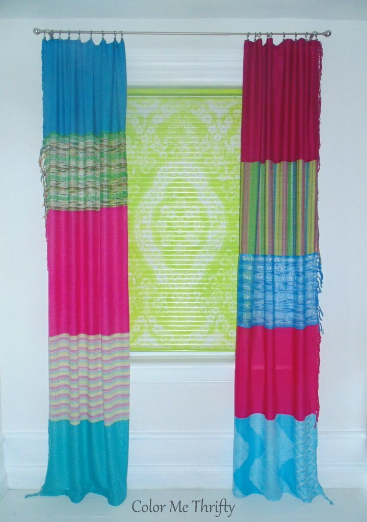 How To Make No Sew Curtains From Scarves Color Me Thrifty
