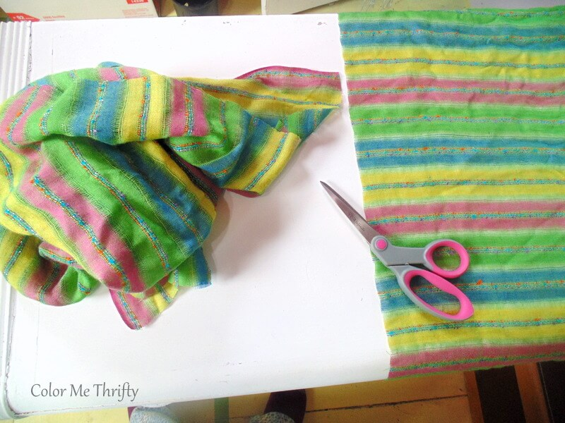 measuring and cutting scarves to length