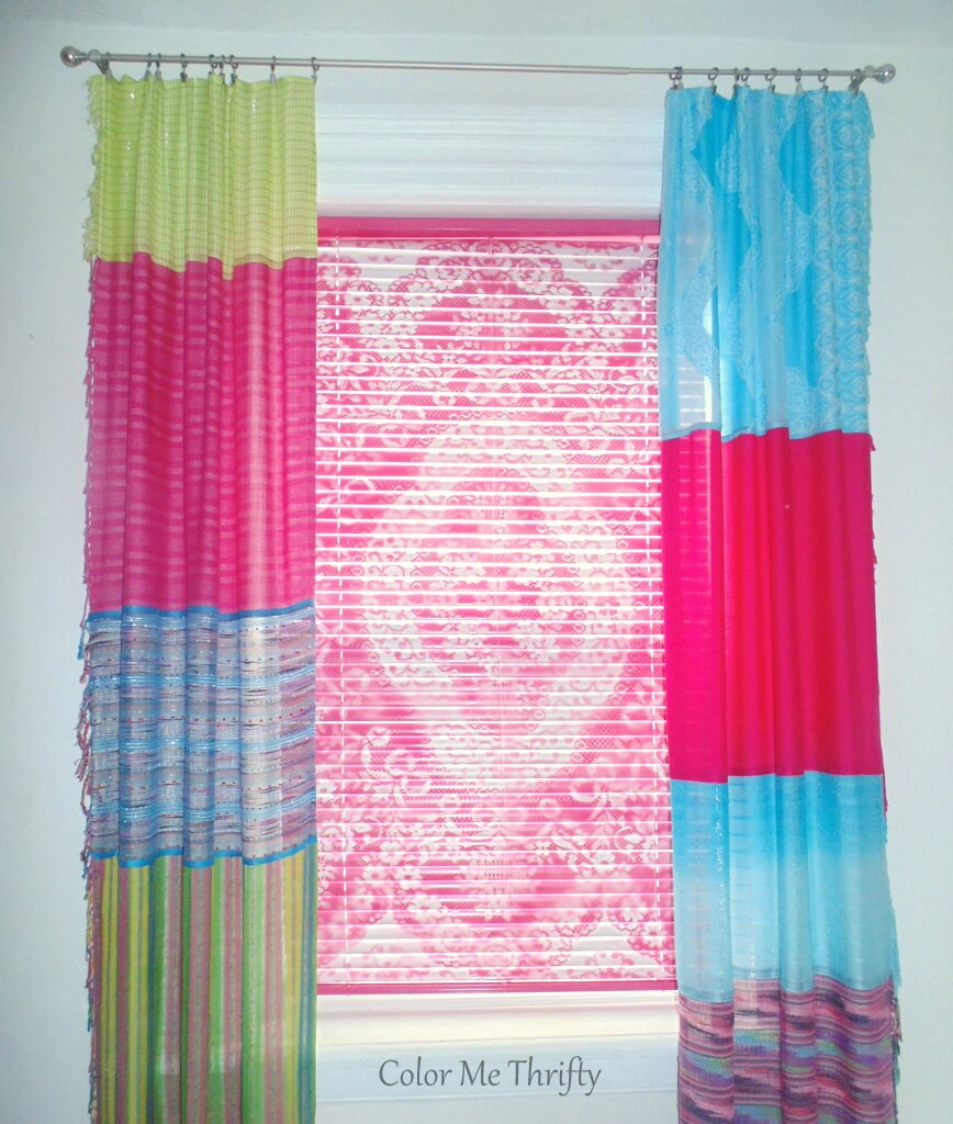 no sew repurposedcurtais made from scarves hanging in living room window