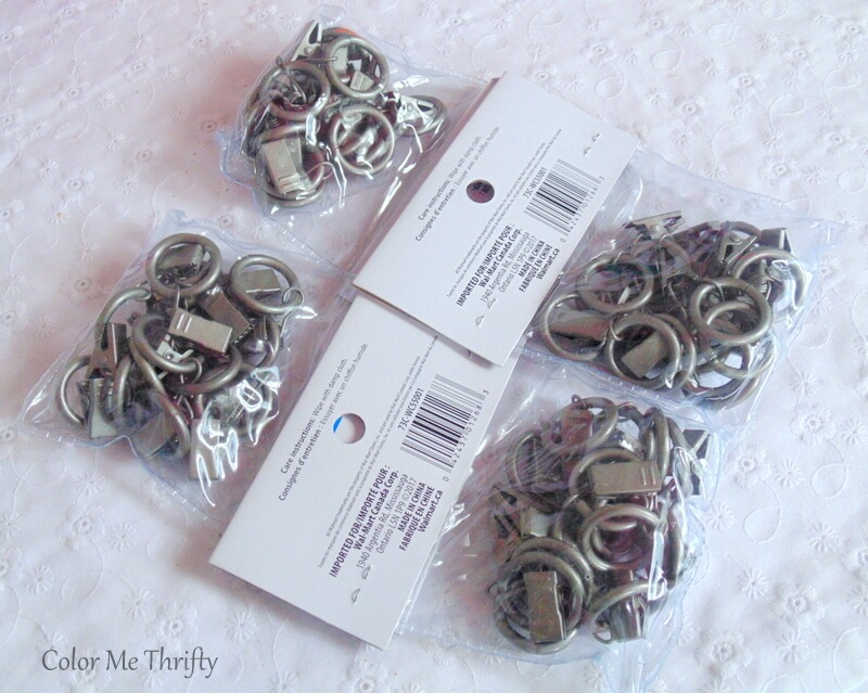 silver metal curtain clip rings used to hang living room scarf curtains