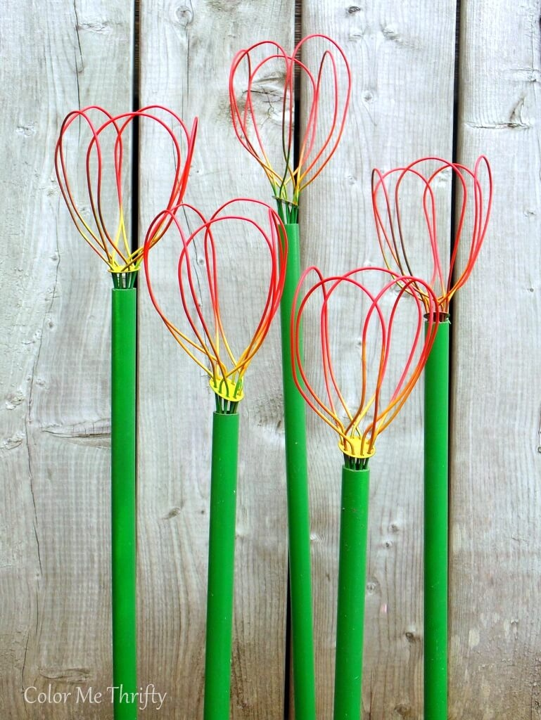 Repurposed whisks made into diy garden tulips