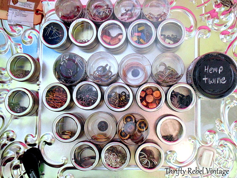 repurposed tin ceiling tile magnetic storage