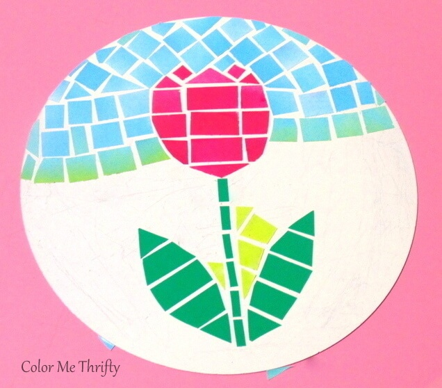 faux mosaic tulip art on cream spray painted removable quiche pan bottom
