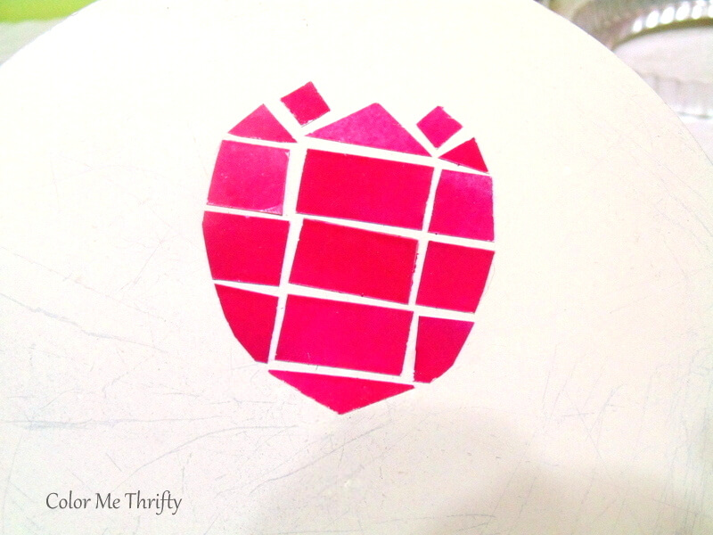 pink spray painted electrical tape faux mosaic tulip