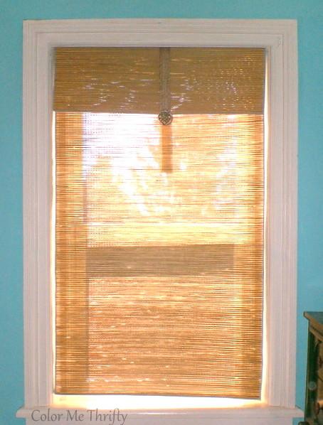 DIY Repurposed bamboo mat window blind