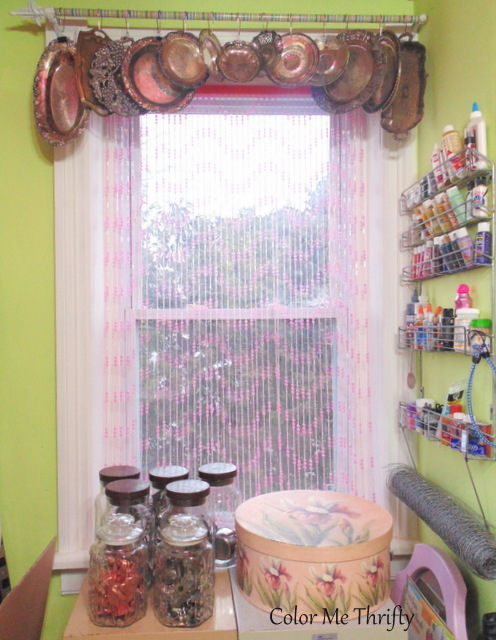 Repurpsoed silver tray window valance