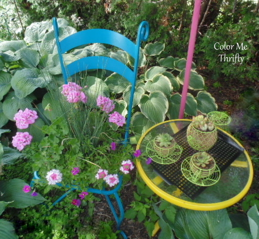 chair planter with wire teapot and cup planters