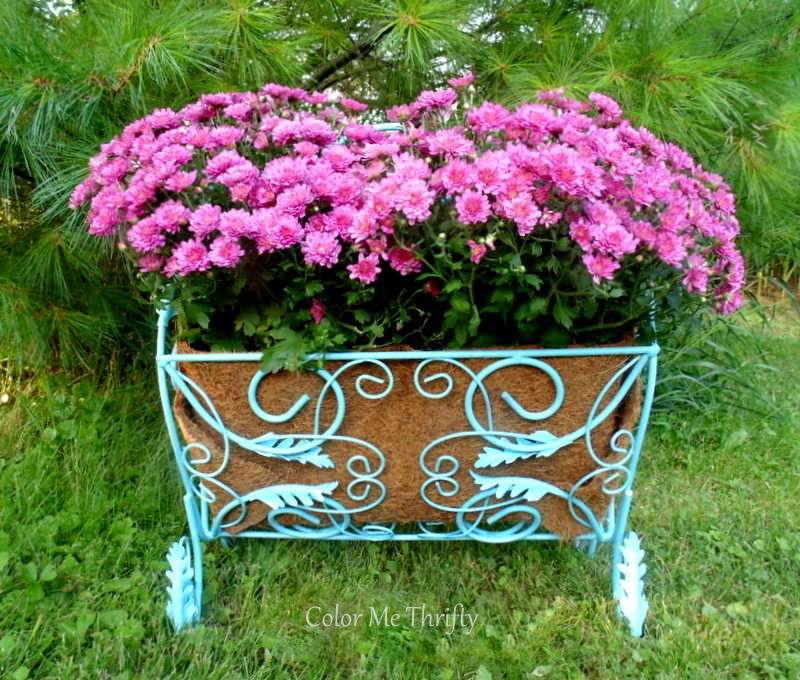 repurposed magazine rack planter planted with pink mums