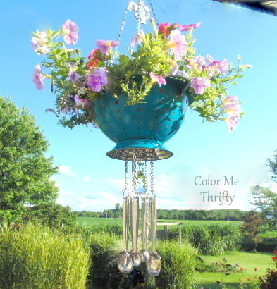 repurposed strainer planter and measuring spoon wind chime