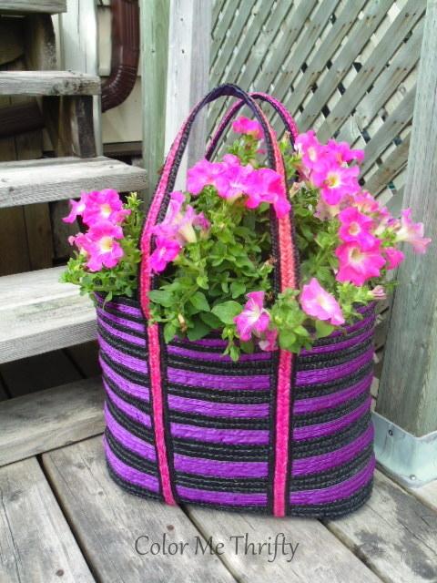 repurposed tote bag purse planter